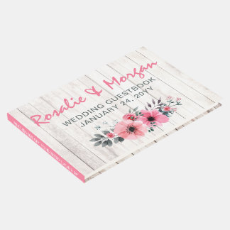 Rustic Wood Floral Rose Country Wedding Ceremony Guest Book