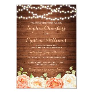 Rustic Wood Floral Wedding Invitation