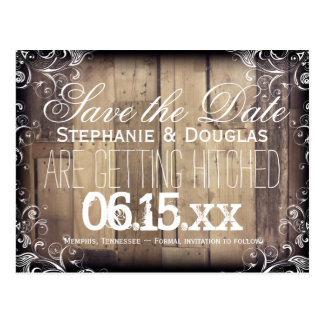 Rustic Wood Flourish Save the Date Postcards
