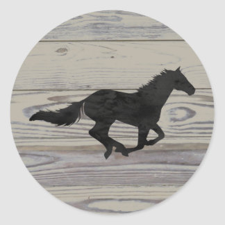 Rustic Wood Galloping Horse Watercolor Silhouette Classic Round Sticker