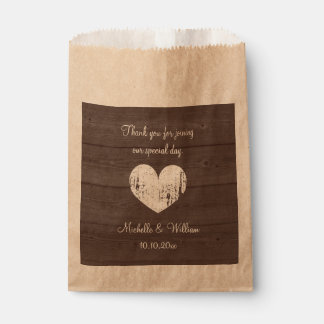 Rustic wood grain kraft wedding party favor bags favour bags