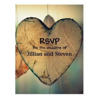 Rustic Wood Hearts - RSVP Post Card