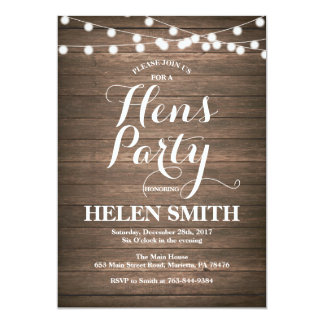Rustic Wood Hens Party Invitation Card