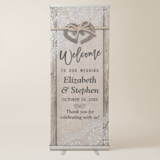 Rustic Wood Horseshoes Burlap Lace Wedding Welcome Retractable Banner