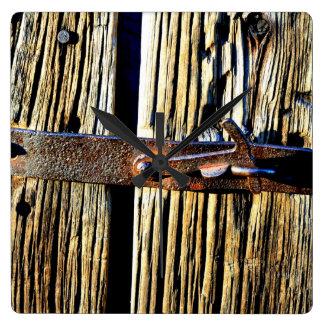Rustic Wood & Iron Metal Latch Cottage Clock