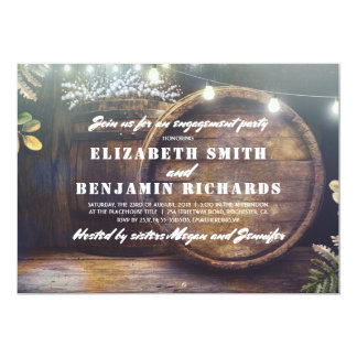 Rustic Wood Lights Baby's Breath Engagement Party Card