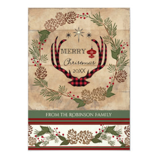 Rustic Wood Lodge Christmas Deer Antler Typography Card