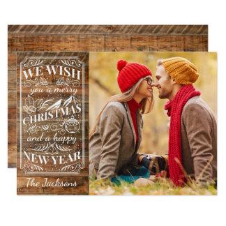 Rustic Wood Merry Christmas Typography Photo 13 Cm X 18 Cm Invitation Card