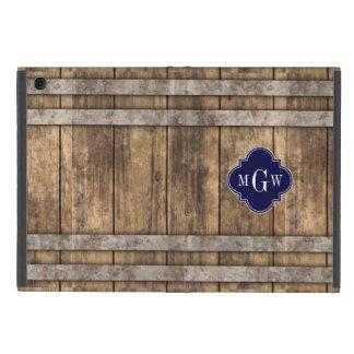 Rustic Wood Metal Band Navy Quatrefoil 3 Monogram iPad Mini Case