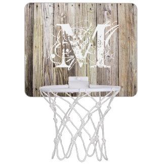 Rustic Wood Monogrammed Mini Basketball Goal Mini Basketball Hoop