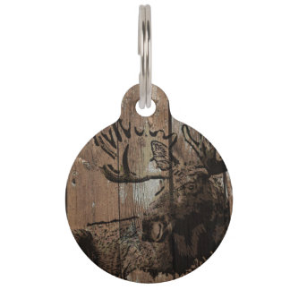 Rustic wood moose customizable pet tag