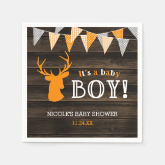 Rustic Wood Orange Deer Boy Baby Shower Disposable Serviette