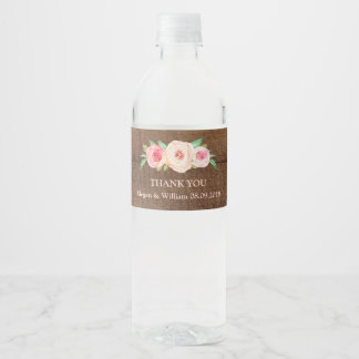 Rustic Wood Pink Floral Water Bottle Label