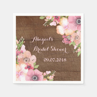 Rustic Wood Pink Watercolor Bridal Shower Napkins Paper Napkins
