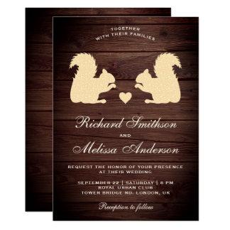 Rustic Wood Romantic Squirrels Wedding Invitation