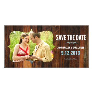 Rustic Wood Save The Date Customised Photo Card