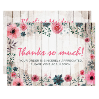Rustic Wood Shabby Chic Roses Anemone Thank You Card