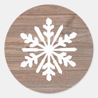 Rustic Wood Snowflake - Circle Sticker