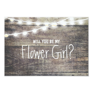 Rustic wood string light Will you be my FlowerGirl 9 Cm X 13 Cm Invitation Card
