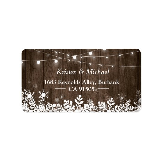 Rustic Wood String Lights Winter Snowflakes Address Label
