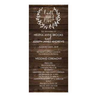 Rustic Wood Wedding Program Rack Card Template