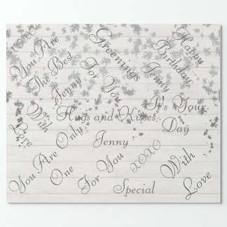 Rustic Wood White Silver Confetti Leafs Wrapping Paper