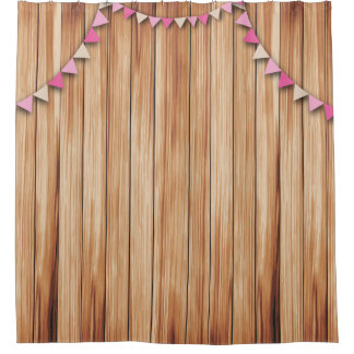 Rustic Wood with Pink & Brown Bunting Shower Shower Curtain