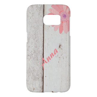 Rustic Wood With Pink Flowers