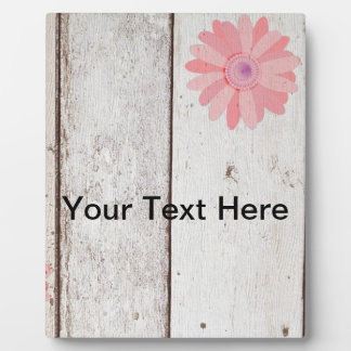 Rustic Wood with Pink Flowers Photo Plaques