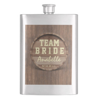 Rustic Wooden Barrel Wedding favor TEAM BRIDE Hip Flask