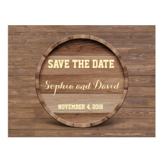 Rustic Wooden Barrel Wedding SAVE THE DATE Postcard