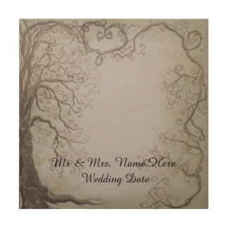 Rustic Wooden Wedding Guestbook Tree and Vine Wood Prints