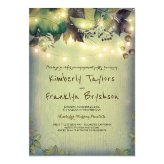 Rustic Woodland Barn Lights Engagement Party Card