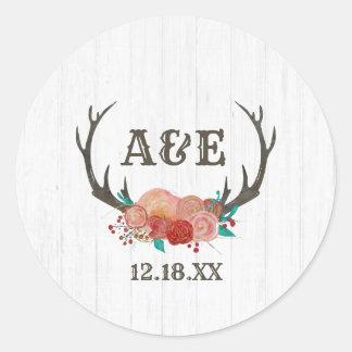 Rustic Woodland Deer Antler Boho Monogram Wedding Classic Round Sticker