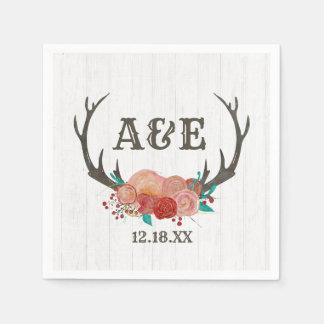 Rustic Woodland Deer Antler Boho Wedding Monogram Paper Napkin