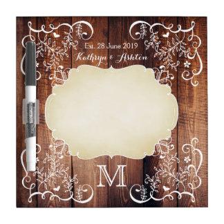 Rustic Woodland Wedding Photo Wood Panel Monogram Dry Erase Board