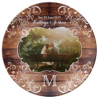 Rustic Woodland Wedding Photo Wood Panel Monogram Plate