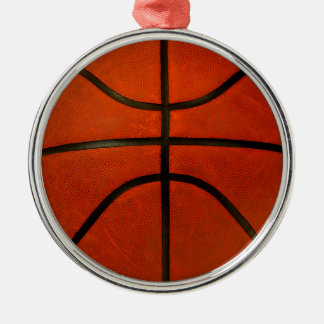 Rustic Worn Basketball Silver-Colored Round Decoration