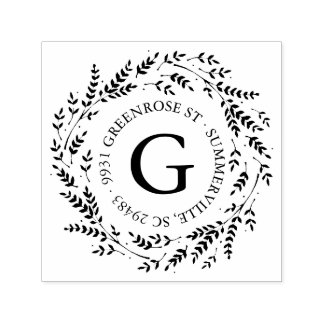 Rustic Wreath Monogram Address Stamp