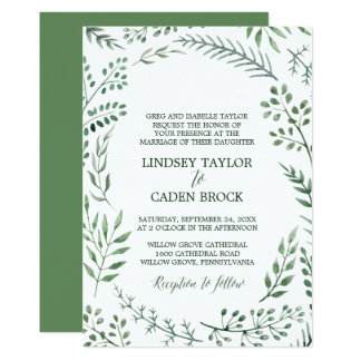 Rustic Wreath with Green Leaves Formal Wedding Card