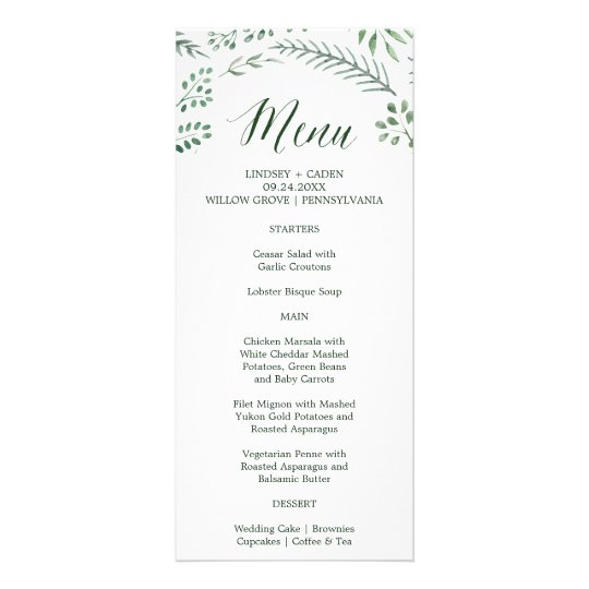 Rustic Wreath with Green Leaves Wedding Menu Card