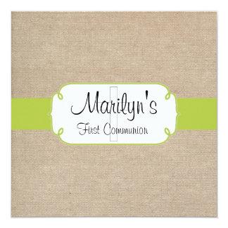 Rustic Yellow Green & Beige Burlap First Communion 13 Cm X 13 Cm Square Invitation Card