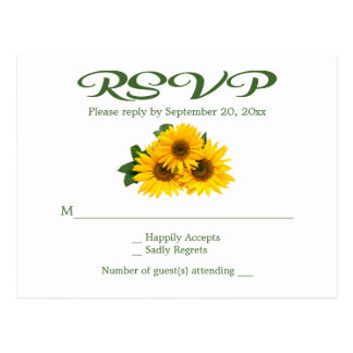 Rustic Yellow Sunflower RSVP Floral Green Wedding Postcard