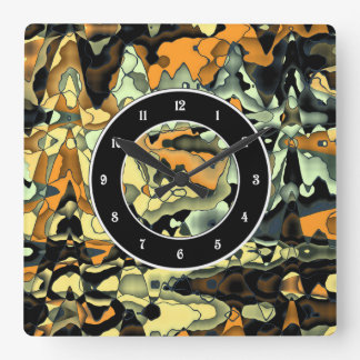 Rusty abstract square wall clock