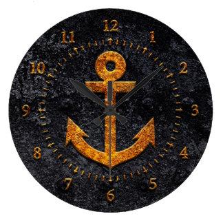 Rusty Anchor Large Clock