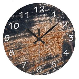 Rusty Black Grunge Large Clock