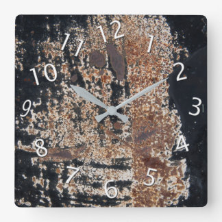 Rusty Black Grunge Square Wall Clock
