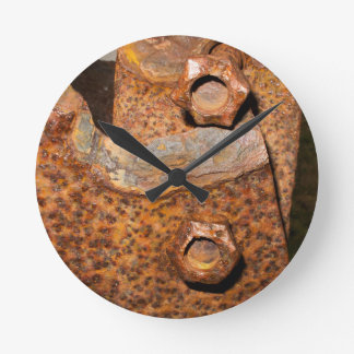 Rusty Bolts and Screws Round Clock