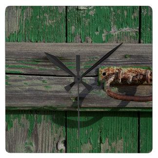 Rusty Door Handle On Green Door Square Wall Clock