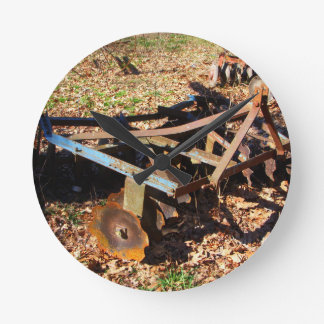 Rusty Farm Field Equipment Round Clock